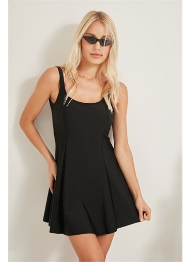C&City TCTY20SSMYO007 C&City Kadın Elbise Mayo 7307-1 Siyah Siyah
